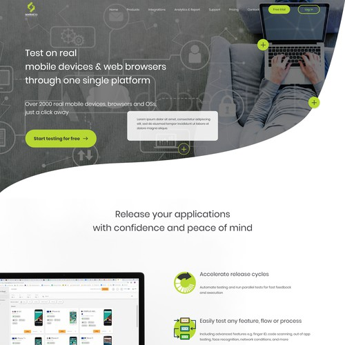 Clean and creative testing platform homepage design