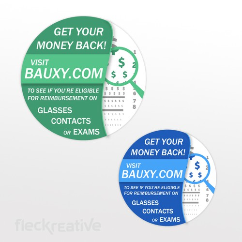 Create a marketing sticker to be used for all vision (glasses/contacts/eye exam) receipts