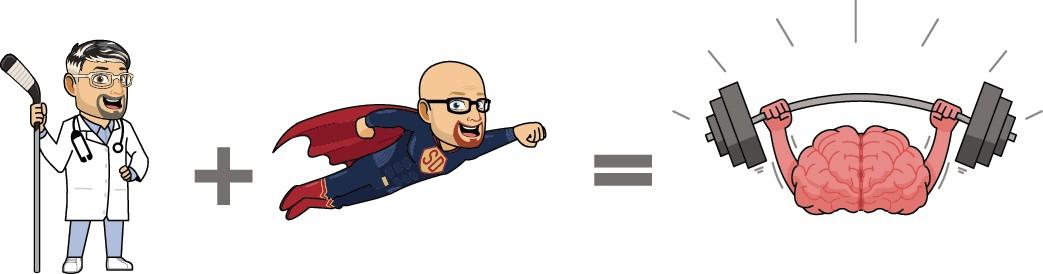 Doctor, Superhero, and Brain Cartoon-Style Illustration
