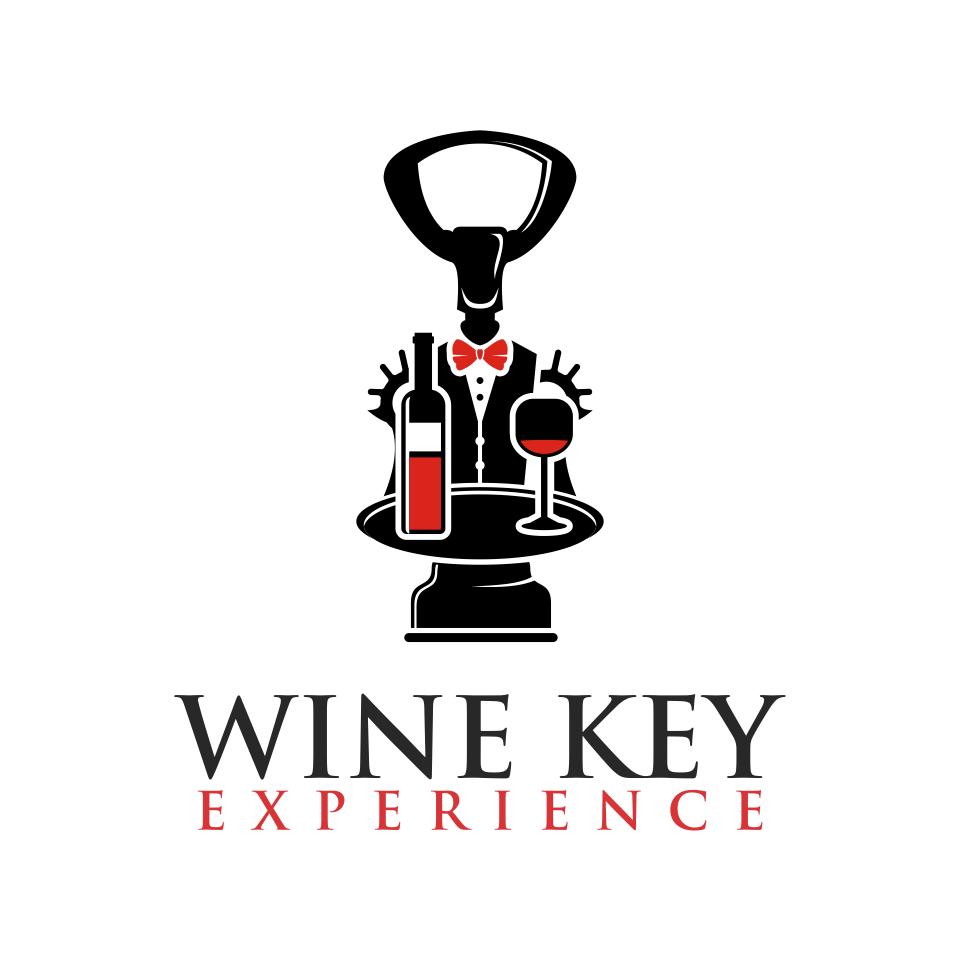 Design elegant logo of Wine Key dressed in tuxedo