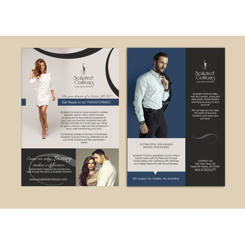 Create a marketing flyer designed for a medical body aesthetics center that targets affluent clients
