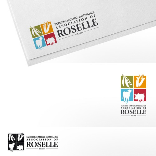 Create the next logo for Farmers Mutual Insurance Association of Roselle