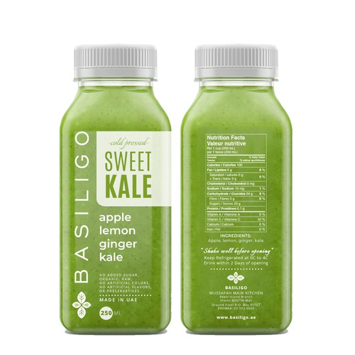 Label Design for Basiligo cold pressed juice