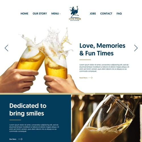 Landing Page design for Bar