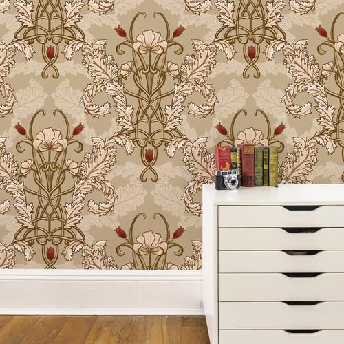 Art nouveau style large scale wallpaper