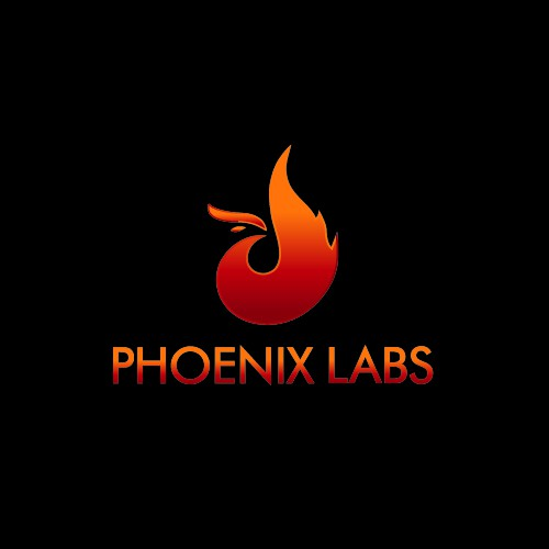 Create a modern stylized video game studio logo for Phoenix Labs