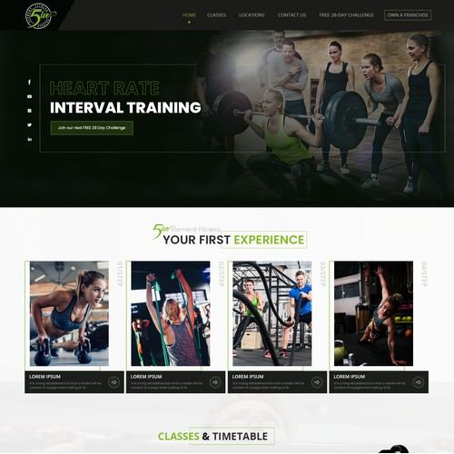 Landing page design for Gym/Group training centre