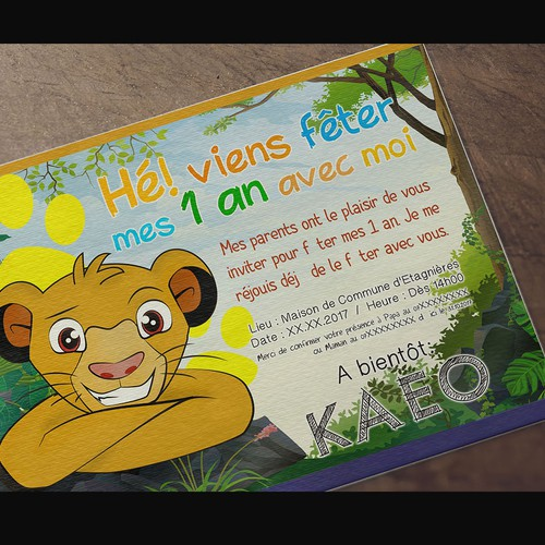 Invitation Card - Birthday 1 year King Lion