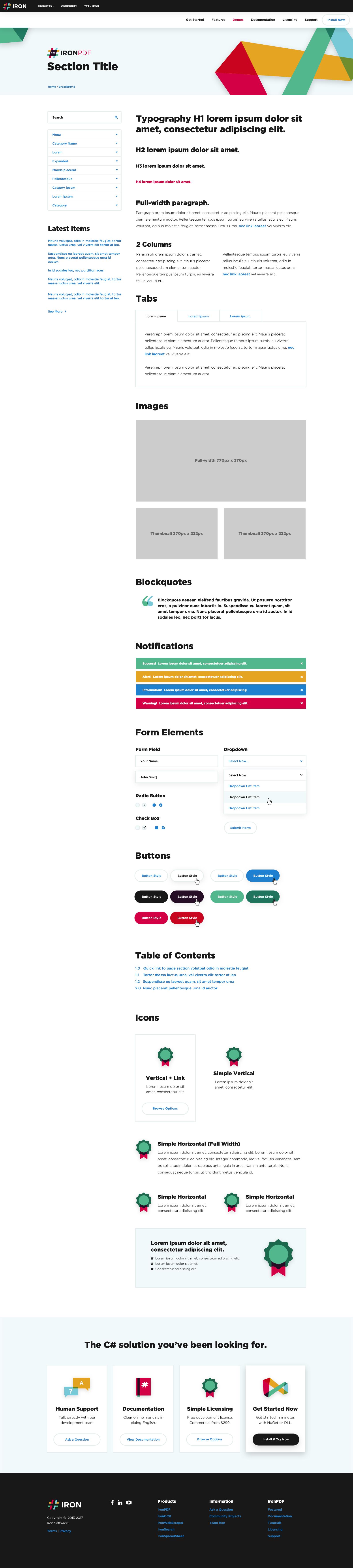 IronPDF - Generic Template, UI Kit (Docs/Demos/Tuts)