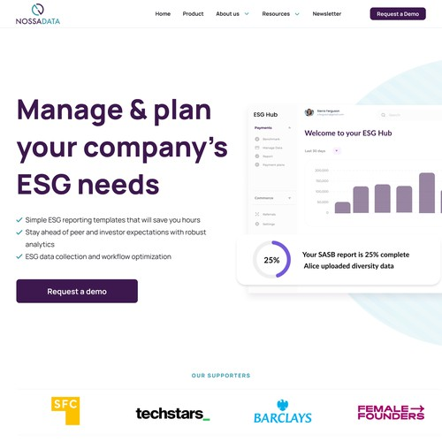 We need a clean and educational landing page for an ESG start-up