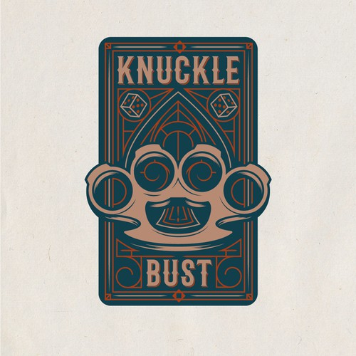 Steampunk card game logo design