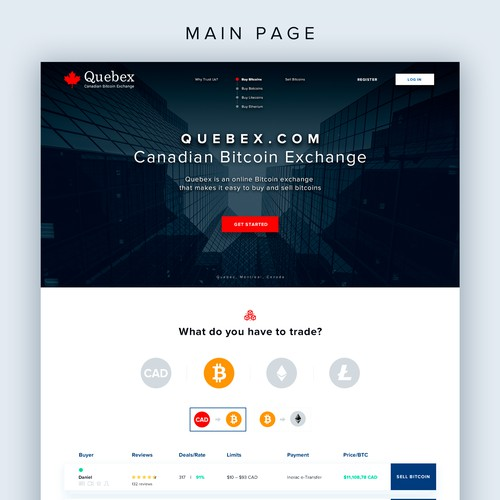 Redesign for the Quebex.com Canadian Bitcoin Exchange