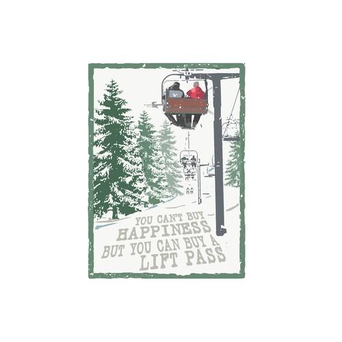 Skiing design illustration for t-shirt