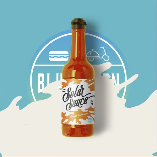 dynamic spicy sauce label design