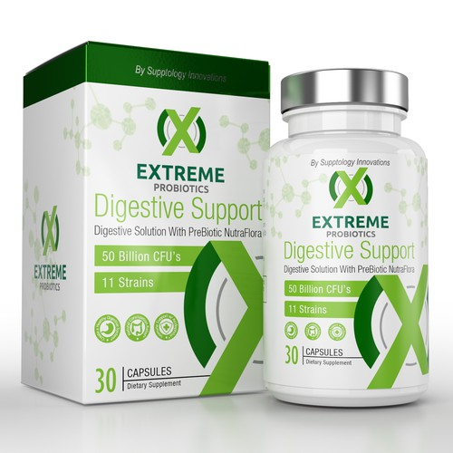 Clean Probiotic supplement packaging label design