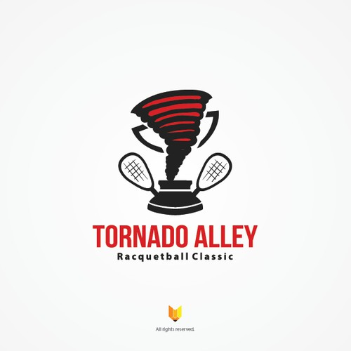 Logo for TORNADO ALLEY Racquetball tournament: sports, active, fit, simple graphic