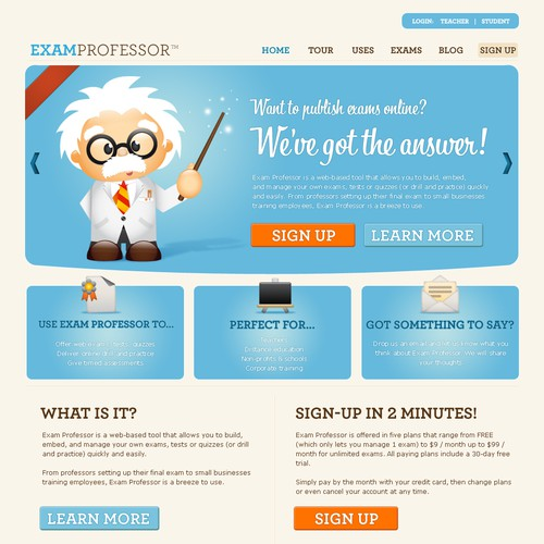 Be our designer: Site redesign for exam engine