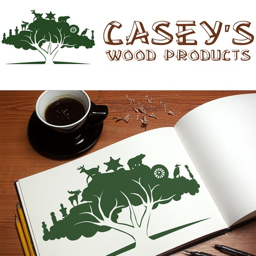 Create an interesting logo for Casey's Wood Products.