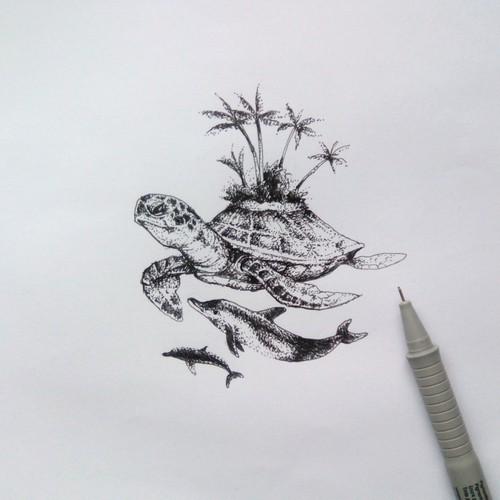 Turtle, dolphin tattoo