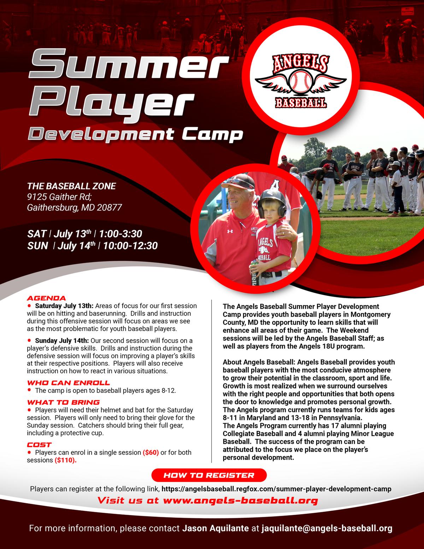 Flier for Angels Baseball Summer Player Development Camp