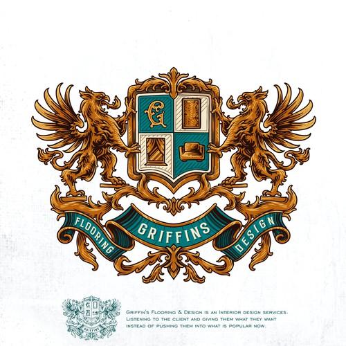 Griffin's Flooring & Design coat of arms crest logo