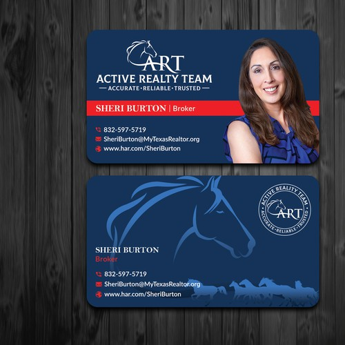 Create a Buiness card for a small real estate company that people won't be able to throw away