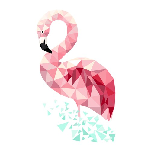 Low poly flamingo illustration for web site