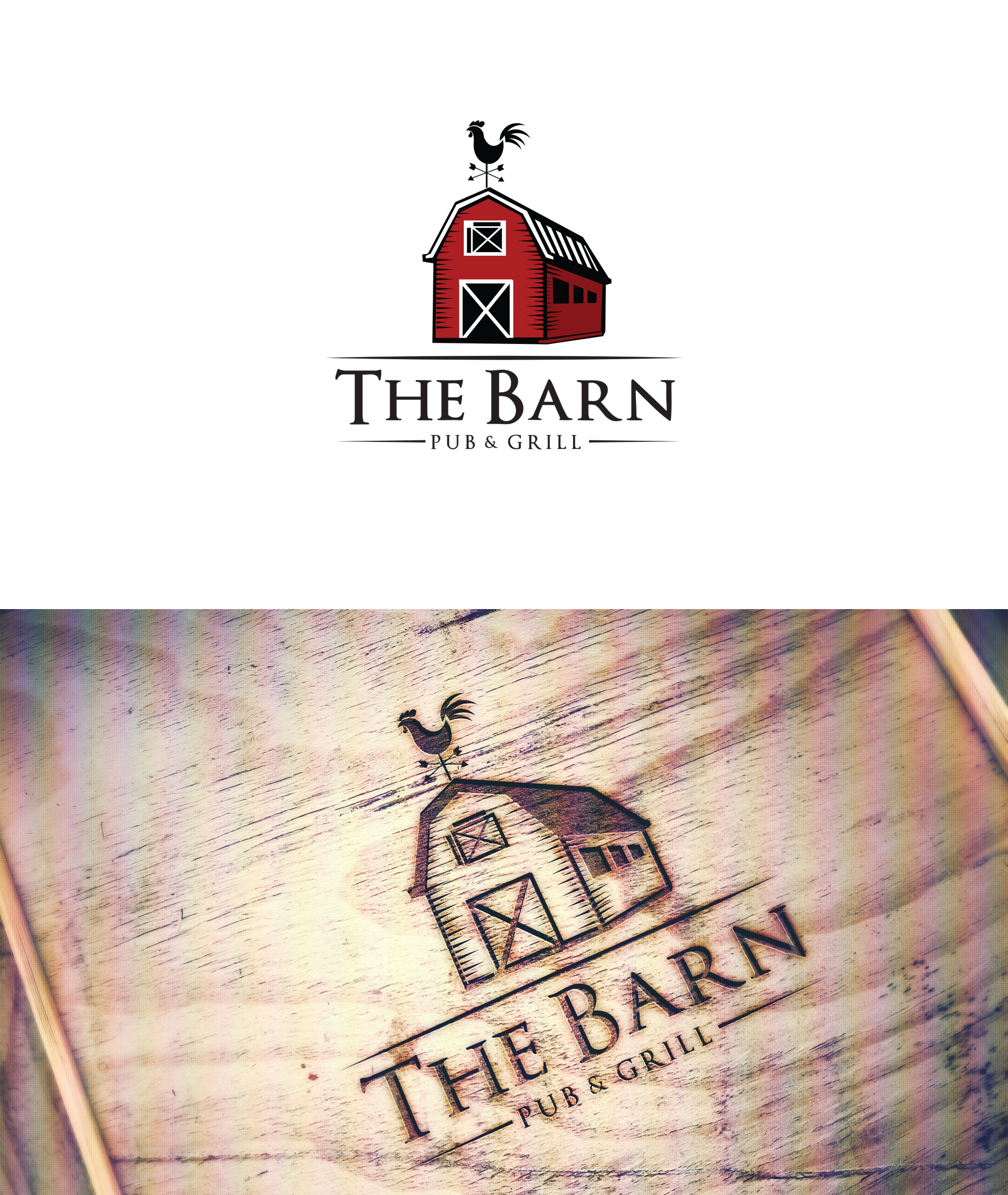 Create a 'rustic, red barn' logo for a pub & grill