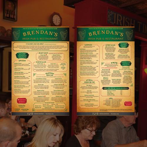 Irish pub menu