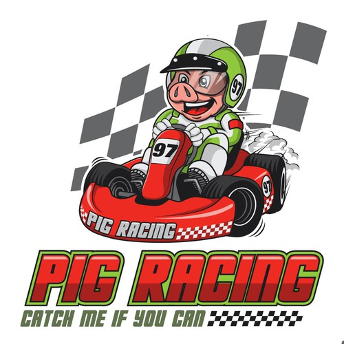 friendly pig logo for kid karting