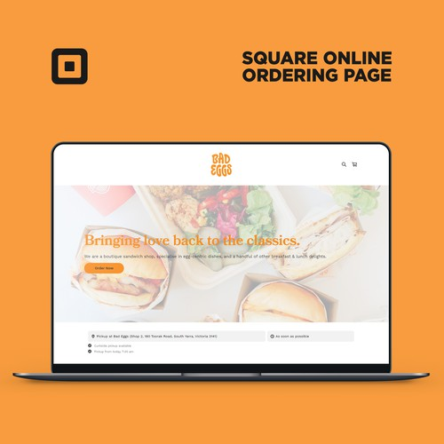 Square Online Ordering Page For Bad Eggs cafe