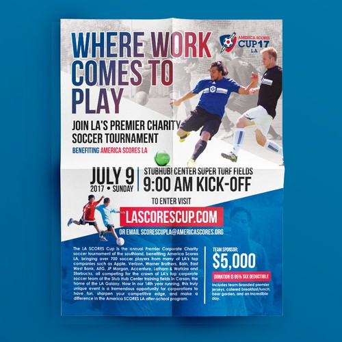 an incredible flier for a heartfelt cause - America Scores LA Cup