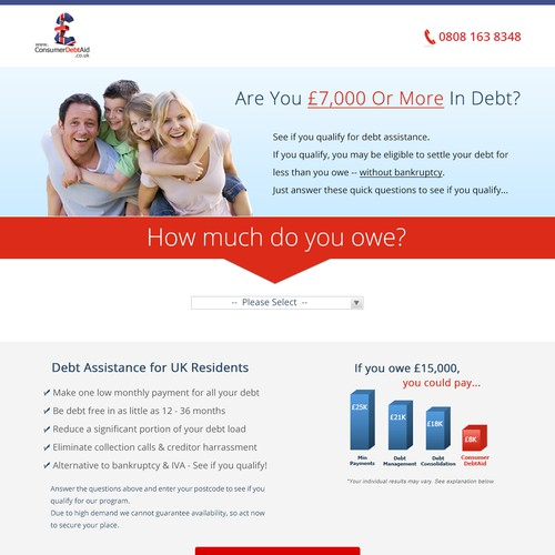 Lead Generation Landing Page Redesign for UK Debt Market