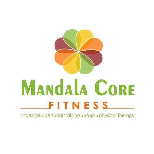 Create a hybrid logo fusing yoga, massage, and fitness for Company name: Mandala Core FITness