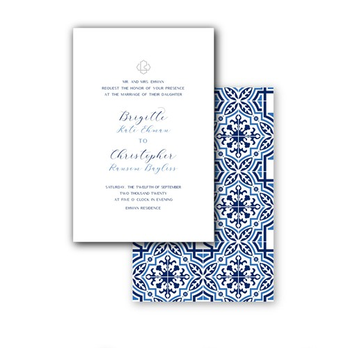 Wedding Invite with Spanish tile inspiration