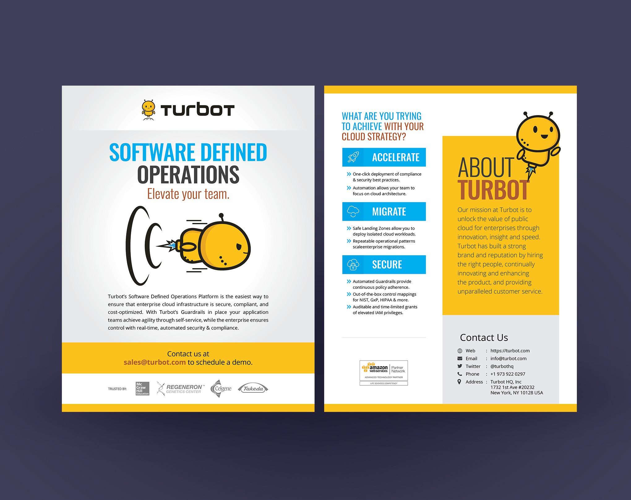 Fun software team needs a powerful design for handout!
