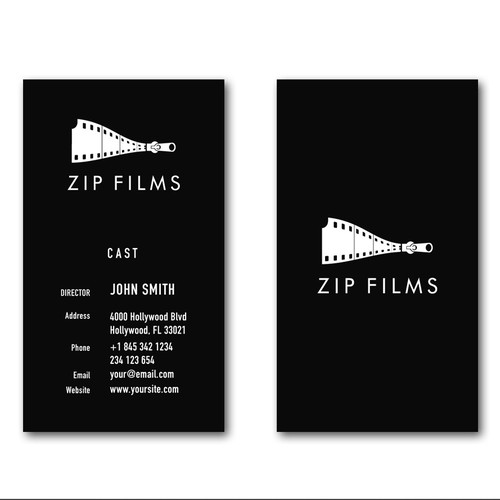 Design the logo and business card for a modern, serious, creative video production firm.