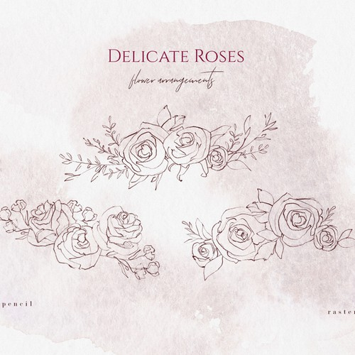 Rose Sketches & Watercolor Clipart