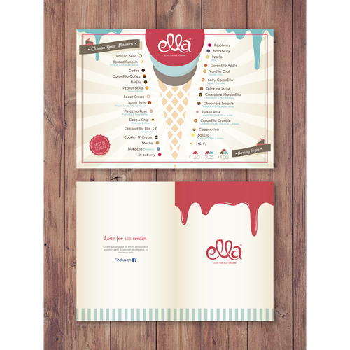 "Menu Design for Ice Cream Shop ""Ella"""