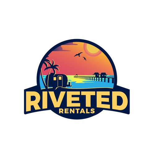 Camping trailer rental business logo concept