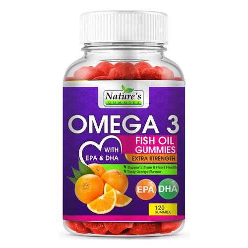 Omega 3 Fish Oil Gummies Label Design