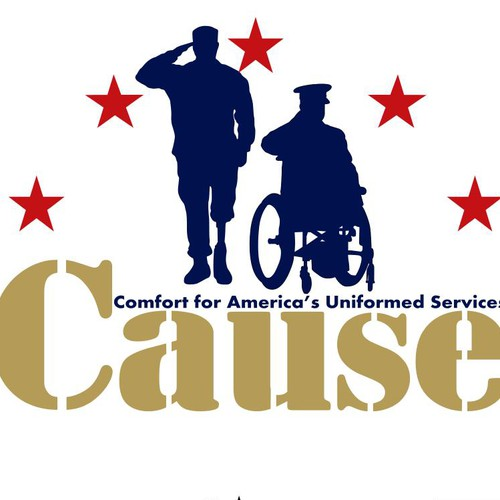 Create an eye-catching logo for a nonprofit that helps wounded warriors