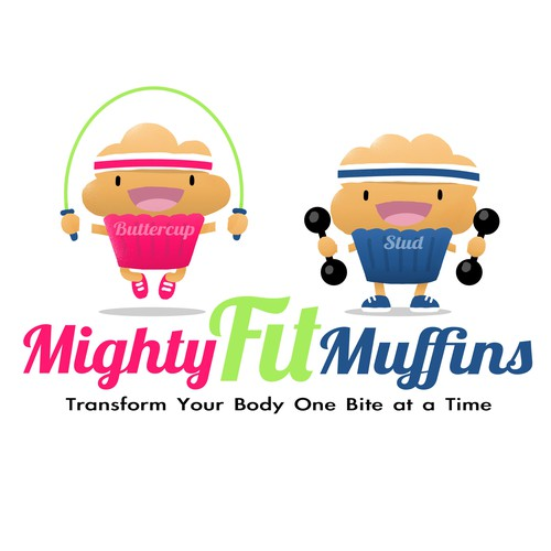 Create an athletic muffin character for Mighty Fit Muffins