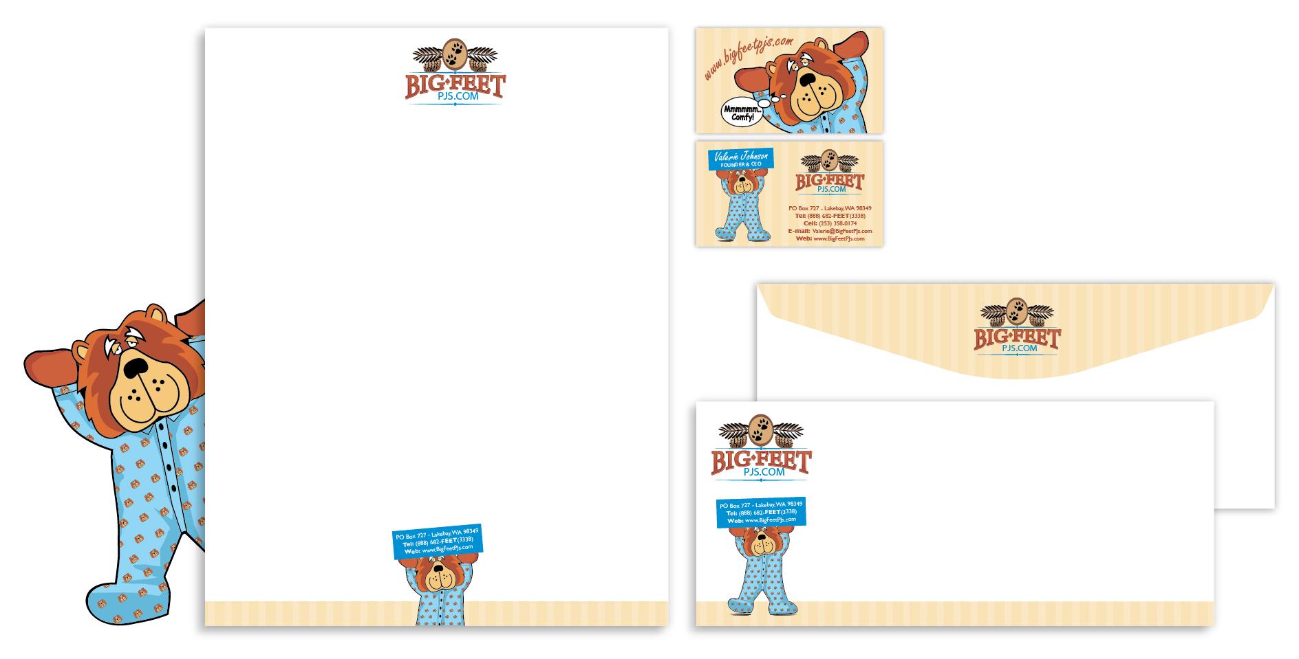 Big Feet Pajama Co. needs biz cards/stationary