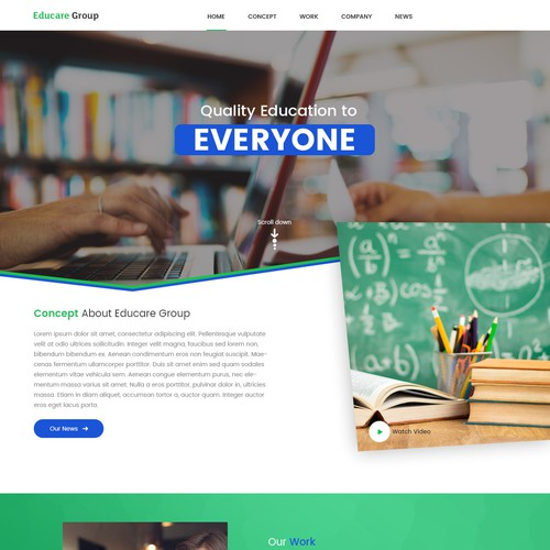 Landing Page for Educare Group