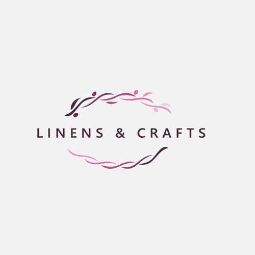 Modern and simple logo concept for wedding/event decorations online mainly made of linens