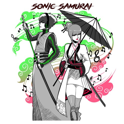 sketch for samurai music character design.