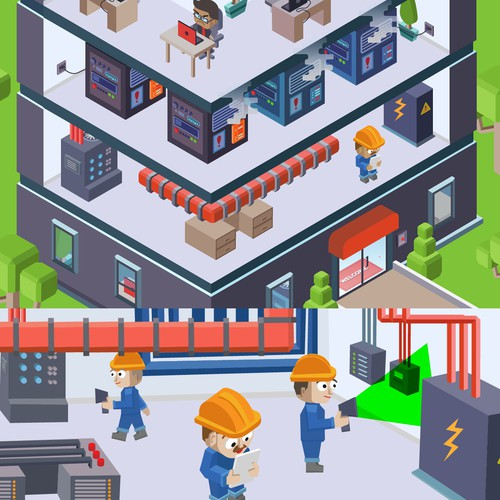 Vector isometric and usual Illustrations
