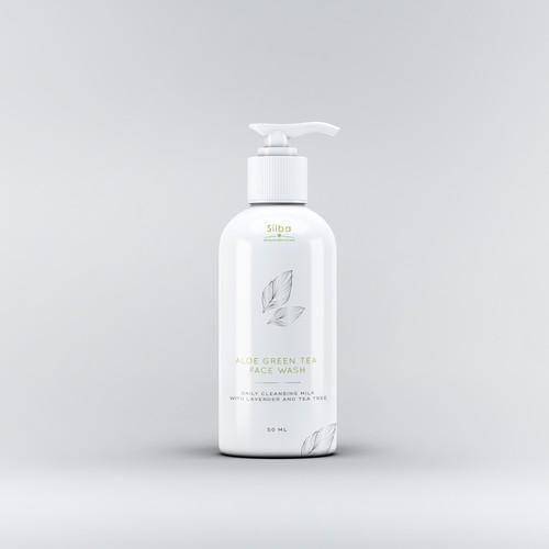 Aloe green face wash label