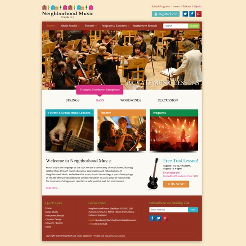 Music & Theater School Website